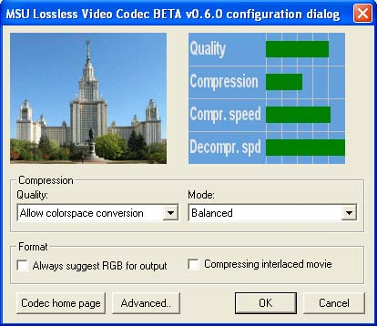 Click to view MSU Lossless Video Codec 0.6.0 screenshot