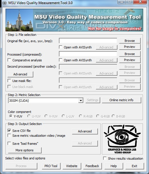 MSU Video Quality Measurement Tool Screenshot